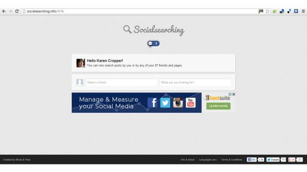 Screen print of Socialsearching landing page