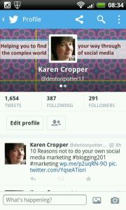 Screenprint of mobile version of new twitter profile