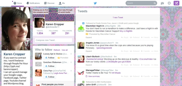 Screenprint of desktop view home page new Twitter layout