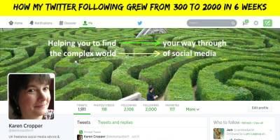 Twitter header image showing reaching 2000 followers