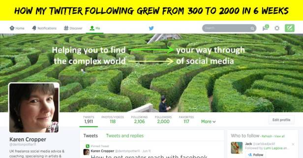 Twitter header image showing reaching 2000 followers